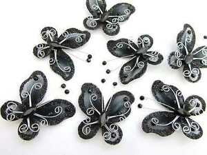"20 Wire Glitter Mesh Butterfly 2"" Decoration/wedding/corsage/bow L8-Big-Black"