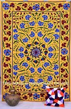 Indian Floral Hand Embroidered Suzani Tapestry Wall Hanging Throw Bedspread Boho