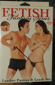 FETISH Fantasy Series Black Leather Panties & Leash Set GString Panty +Mask