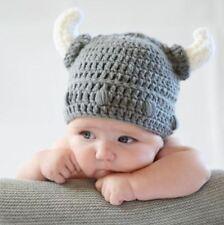 2f1365271b304 Handmade Baby Kids Viking Hat Crochet Devil Horns Cap Knitted Beanie Costume  AU