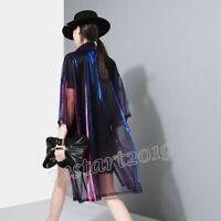 Women's Holographic Laser Transparent Shirt Jacket Iridescent Summer Beach Coat