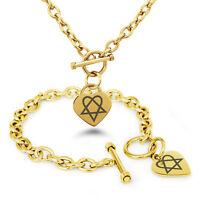 Stainless Steel Heartagram Love Death Symbol Heart Charm Bracelet, Necklace, Set