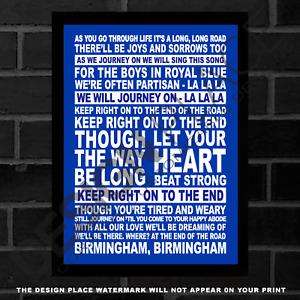 A3/A4 Birmingham City Football Club Anthem KRO Keep Right On Lyrics Poster Print