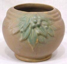 Vintage McCoy Art Pottery Jardiniere Green Brown Matte Berries and Leaves
