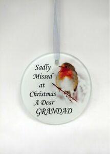 Robin Glass Christmas Tree Hanging Plaque/Decoration Memorial Xmas Bauble