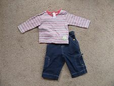 SUPER TRENDY!! Baby Boy's Striped SPRING Outfit 6-9 mths Top & Trousers