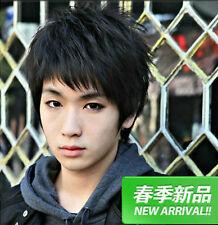 Handsome Korean Men Short Black Natural Straight Hair Synthetic Cosplay Full Wig