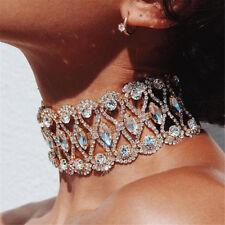 Damen Kristall Strass Choker Abend Schmuck Choker Halsband Kragen Halskette