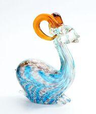 """New 9"""" Hand Blown Art Glass Deer Figurine Sculpture Statue Blue Amber Multicolor"""