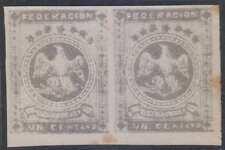 VENEZUELA 1863-64 EAGLES Sc 11 CORNER MARGINAL PAIR FORGERY UNUSED (CV$125+)