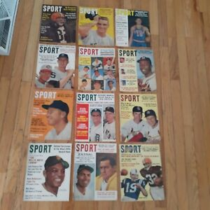 (12) Sport Magazine 1962 Vintage LOT Babe Ruth Mickey Mantle Willie Mays MORE!