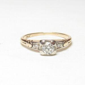1930s Vintage 14K Yellow, White Gold 0.23 Ct European Cut Diamond Ring 0.25 Cts