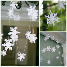 Christmas Snowflake Hanging Paper Party Decor Xmas Tree Window Ornament Strings