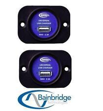 2 X USB SOCKET FLUSH MOUNT 2.3AMP MAX 12V TO 5V FOR CARAVAN IPHONE IPAD IPOD