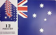 Australian Supporter Party Supplies Aussie Flag Placemat & Coaster Setting for 6