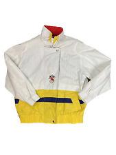 Vtg 80s/90s IZZI Small/M? Yellow White Blue Red Retro Windbreaker Bomber Jacket