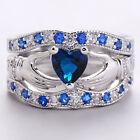 Mujer Simple Anillos De Compromiso Boda azul Cristal zafiro Anillo Ring