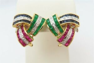 14K Yellow Gold Emerald, Sapphire, Ruby & Diamond Accent Omega Back Earrings