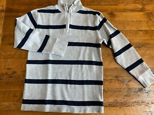 Gap Kids Boys XL 12 Gray & Navy Blue Striped 1/4 Zip Pullover Sweater Sweatshirt