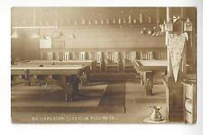 1911 Billiard Room - Elks Club, Redding, California RPPC