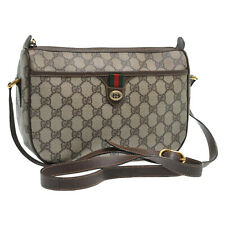 GUCCI Web Sherry Line GG Canvas Shoulder Bag Red Green PVC Leather Auth 12786