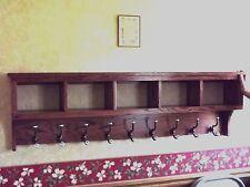 "5 Cubby Coat Rack Storage Display Wall Shelf 60"" Oak Storage Unit Rack"
