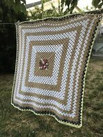 "Handmade Afghan Crochet Beige White Pink Cute Boho Throw Baby Blanket 49""X52"""