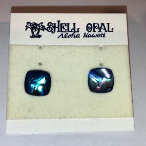 Vintage Aloha Hawaii shell opal stud earrings