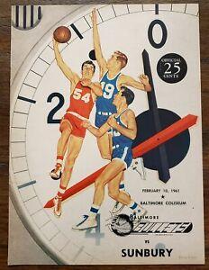 1961 Baltimore Bullets Sunbury Mercuries Eastern Basketball League EPBL Program