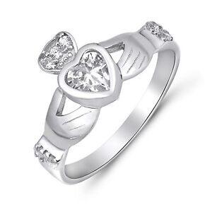 White Gold Celtic Heart Claddagh Clear Cubic Zirconia Crown Ring Sterling Silver