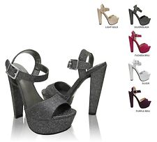 Delicious ARIVA Women's Open Toe Platform Thick High Heel Ankle Strap Sandals