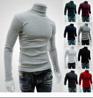 Mens Spring Muscle Tee Cotton Pullover Sweater Tops Turtleneck Blouse T-shirt