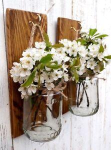Pair of reclaimed dark oak rustic wood Glass Mason jar Candle Holder flower gift