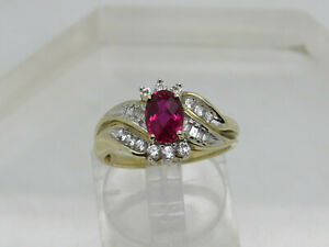 10k Yellow Gold Oval Red Ruby Round Baguette White Sapphire Accent Ring Size 7