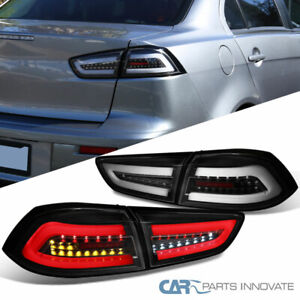 Fit Mitsubishi 08-17 Lancer 08-15 EVO X Black LED Tail Lights Brake Lamps Pair