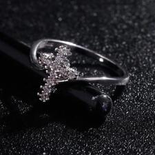 WOMENS YELLOW WHITE ZIRCON DIAMOND ACCENT CROSS RING FASHION JEWELRY Q