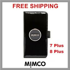 Mimco Enamour iPhone 7 8 Plus Case Black Patent Leather Flip Wallet Cover DF