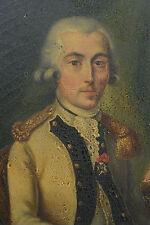 Ancien Tableau Portrait Homme de qualité ordre de saint Louis Costume Royal x 2