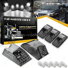 5x Smoke Cab Marker Roof Running Top Lights w/ White LED for 03-09 Hummer H2 SUV