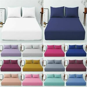 Full 25cm Fitted Sheet Bed Sheets 100% Poly Cotton Single Double King King Size