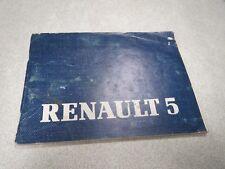 RENAULT 5 Notice Utilisation et Entretien catalogue carnet emploi  *