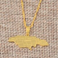 Map of Jamaica With City Pendant Necklaces for Women Stainless Steel Silver/Gold