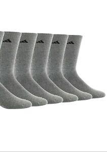 adidas Men's 5 Pack ClimaLite Cushion Athletic Crew Socks Grey One Size NEW $55