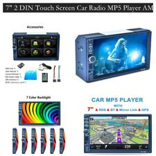 Double 2Din 7' Car Mp5 Player Touch Screen In Dash Stereo Radio Aux Am Rds Gps