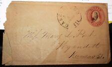 Scotts U2 Embossed Washington 3 Cent Stamped Envelope Galesburg IL Postmark
