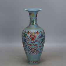 Chinese porcelain Qing yongzheng celadon glaze colour enamels flower vase