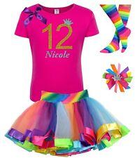 Bubblegum Divas Girls 12th Birthday Shirt Rainbow Tutu Outfit Personalized 12