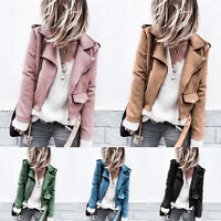 Women Slim Lapel Zip Up Bomber Jacket Cropped Biker Coat Casual Belted Plus Size
