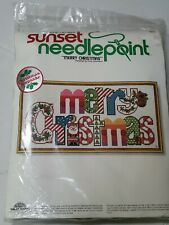 Sunset Needlepoint Kit 1978 Merry Christmas New 6070