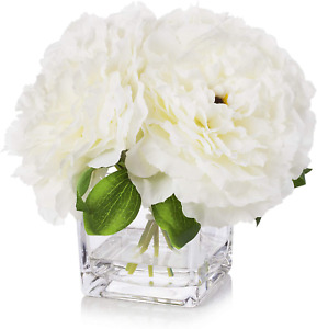 Enova Home Silk Peony Flowers Arrangements in Cube Glass Vase with Faux Water fo